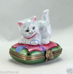 New Hand Painted French Limoges Box Cute White Kitty Cat Kitten w Cat Clasp | eBay