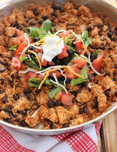 Chicken Burrito Skillet: A 30 Minute One-Pan Meal. This Chicken Burrito Skillet will be on your table in 30 minutes or less and is a one-pan meal the whole family will enjoy! #skilletmeals #easymeals #easydinner #easydinnerideas #dinnerrecipes #familymeals #onepanmeals #30minutemeals