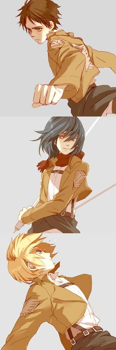 Eren, Mikasa, Armin