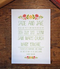 "gypsy wedding invitation to match the ""love I all you need"" save the date!"