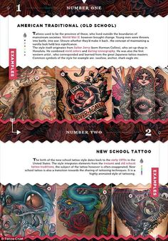 Inked list: A new infographic from website Tattoo Chief describes history and characteristics behind some of the most popular styles of tattoos