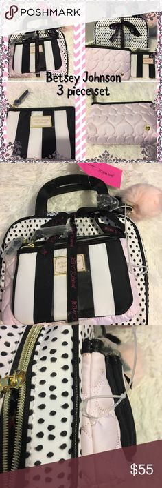 🌸 Beautiful 🌸 Betsey Johnson 3 piece makeup bag Please note that the price listed is lowest price or I will be losing money. Thank you. Adorable 3 piece makeup bag set by Betsey Johnson. Perfect as a gift or for yourself for work, school, home, or play! Comes from a smoke-free home. Please see my other items. Bundle and save! Make an offer, if I accept, I will lower the price and hopefully you'll get discounted shipping! Betsey Johnson Bags Cosmetic Bags & Cases