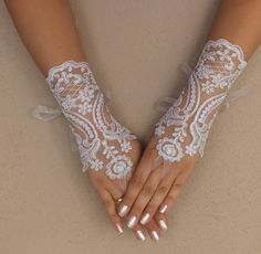 Shop for on Etsy, the place to express your creativity through the buying and selling of handmade and vintage goods. White Wedding Gowns, Wedding Bride, Lace Gloves, Fingerless Gloves, Wedding Gloves, French Lace, Gift Guide, Cuffs, Goodies