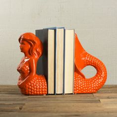 Mermaid Bookends in Tangerine ==