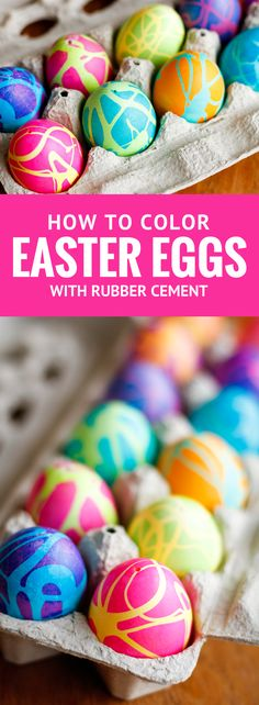 Coloring Easter Eggs w/ Rubber Cement -- dyeing Easter eggs with gel food coloring and this rubber cement technique produces some spectacularly high contrast, gorgeous abstract designs!   unsophisticook.com