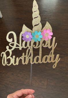 Unicorn Cake Topper on Mercari Easy Unicorn Cake, Unicorn Cake Pops, Unicorn Cakes, Diy Cake Topper, Birthday Cake Toppers, Cake Birthday, Unicorn Birthday Parties, Unicorn Party, Birthday Kids
