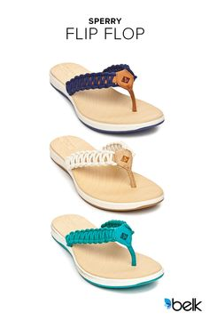 Find all the things you love about your favorite Sperry flip flops. These summer must-haves are perfect for a poolside party or beach wedding, and will keep your feet comfortable all day. The signature rope detailing is available in pink, navy, teal, and white with a sole that provides traction on wet or dry surfaces. They are a perfect way to showcase your pedicure. Shop now while they are on sale at Belk.com.