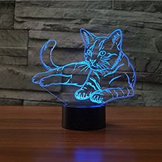 Pet Cat Lamp Optical Illusion Night Light, Gawell 7 Color Changing Touch Switch Table Desk Decoration Lamps Perfect Christmas Gift with Acrylic Flat & ABS Base & USB Cable Creative Toy Lampe 3d, Decoration Christmas, Night Lamps, Perfect Christmas Gifts, Optical Illusions, Night Light, Color Change, Vinyl Decals, Table Desk