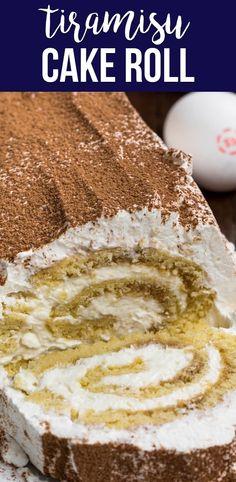 Tiramisu Recipe, Tiramisu Cake, Tiramisu Swiss Roll Recipe, Pear And Almond Cake, Almond Cakes, Cake Roll Recipes, Dessert Recipes, Sponge Cake Roll Recipe, Cupcakes
