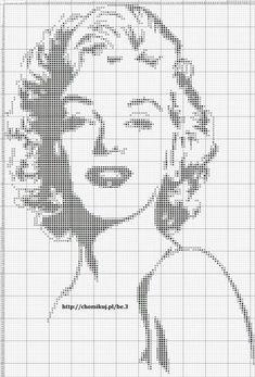 Marilyn Monroe x-stitch Cross Stitch Beginner, Just Cross Stitch, Cross Stitch Charts, Cross Stitch Designs, Cross Stitch Embroidery, Embroidery Patterns, Cross Stitch Patterns, Pixel Crochet, Crochet Chart
