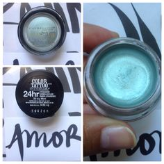 Limited Ed Maybelline Color Tattoo in Icy Mint; no longer available. Spring 2013. Swatched. $10.
