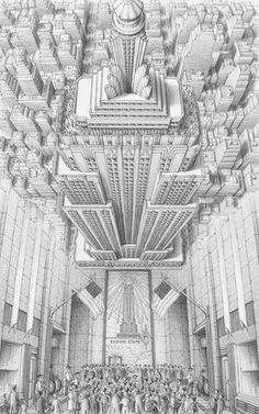 Stephen Biesty - Illustrator - Inside-out Views_Empire State BuildingYou can find Empire state and more on our website.Stephen Biesty - Illustrator - Inside-out Vi. Building Drawing, Building Sketch, Building Art, Building Painting, Art And Illustration, Building Illustration, Illustrations, Empire State Building, Art Sketches
