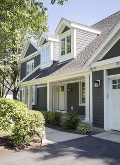 HardiePlank lap siding in Iron Gray with Arctic White HardieTrim boards
