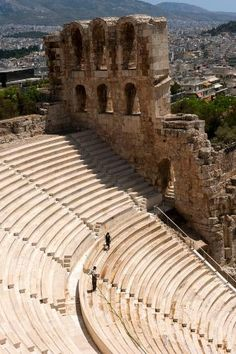 Detail of the Herodes Atticus Theater in Athens, Greece.