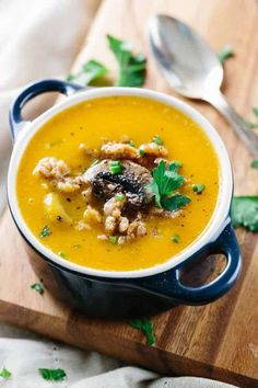 Rustic Italian Butternut Squash Soup - Hearty and delicious Tuscan-inspired recipe with savory sausage and mushrooms. A wonderful fall and winter meal to warm your soul. Soup Recipes, Dinner Recipes, Healthy Recipes, Healthy Soups, Dinner Ideas, Healthy Food, Italian Sausage Recipes, Chicken And Butternut Squash, Sausage Soup