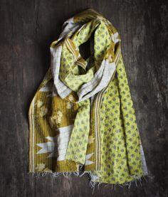 Repurposed Vintage Cotton Sari Scarf #506