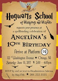 Have a magical birthday party for your own special wizard - muggles are welcome! Invitation will be sent to you within 24 hours of payment and your party information being sent. High resolution jpeg file. Please include your party info with your order under Notes to Seller Additional