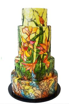 Signature Stained Glass Wedding Cakes from Queen of Hearts Couture Cakes - Mon Cheri Bridals Gorgeous Cakes, Pretty Cakes, Buttercream Decorating, Cake Decorating, Amazing Wedding Cakes, Amazing Cakes, Buttercream Flower Cake, Hand Painted Cakes, Couture Cakes