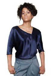 "The Petite Shop - Joneien Leah Petite Dolman Blouse in Navy, $90.00. Available in women's petite sizes SP, MP and LP. Model is 5' 3""! Petite Tops, Petite Sizes, Navy, Blouse, Lp, Model, Shopping, Collection, Fashion"
