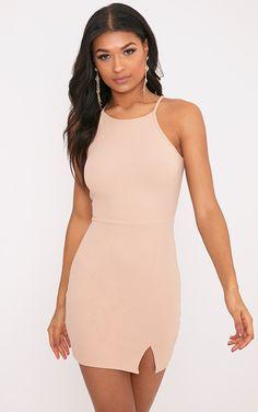 Aniqah Nude High Neck Split Detail Bodycon Dress