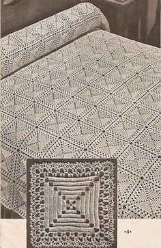 Vintage bedspread motif 8 pyramid crochet pattern only Crochet Afghans, Crochet Bedspread Pattern, Crochet Tablecloth Pattern, Afghan Crochet Patterns, Crochet Squares, Filet Crochet, Crochet Motif, Knitting Patterns, Crochet Vintage