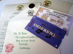 Personalized Hogwarts acceptance letter with Hogwarts Express and Knight Bus Tickets.