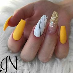 76 Stunning Yellow Acrylic Nail Art Designs For Summer – Acrylic Nails Almond Acrylic Nails, Summer Acrylic Nails, Best Acrylic Nails, Acrylic Nails Yellow, Acrylic Art, Black Nails, Matte Black, Red Black, Yellow Nails Design