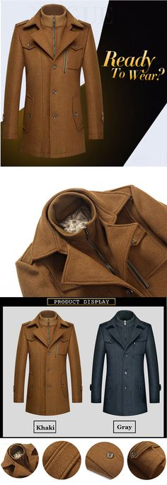 Mens Winter Thickened Woolen Coat #mensfashion #men #outfits