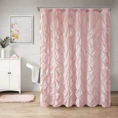 Better Homes and Gardens Pintuck Pearl Shower Curtain and Hook Set Image 1 of 4 Hookless Shower Curtain, Better Homes And Gardens, Luxury Shower Curtain, Bathroom Decor, Bathroom Redo, Curtains, French Country Bathroom, Pink Shower Curtains, Silver Shower Curtain