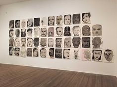 Marlene Dumas, 'Rejects' (1994–ongoing), ink, acrylic paint and chalk on paper, unfinished series, 60 x 50 cm each, collection of the artist (photo by the author for Hyperallergic)