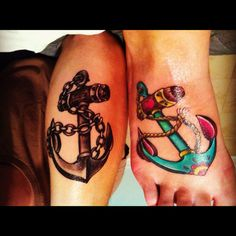 Sweet anchor tattoo's that my husband and I just got! #couplestattoo check out him out JasonRenyoldsArt