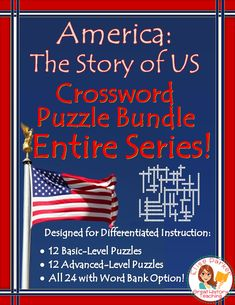 Make history fun with America the Story of US worksheet puzzles! Includes both basic and advanced crosswords for every episode; that's 24 puzzles in all! Plus vocabulary/study lists and full solution keys. Great for review, sub plans, homework, group work, and more! No prep -- just print and go with these fully differentiated resources! #americanhistory #ushistory #americathestoryofus #historychannel #revolutionarywar #civilwar #wwii #westward #industrialrevolution #civilrights Teaching Materials, Teaching Ideas, Teaching Resources, Second Semester, Fall Cleaning, Crossword Puzzles, Differentiated Instruction, History Channel, Differentiation