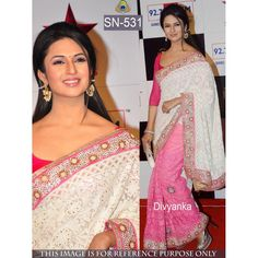 Divyanka Off White Color Georgette Bollywood & Wedding Saree at just Rs.2790/- on www.vendorvilla.com. Cash on Delivery, Easy Returns, Lowest Price.