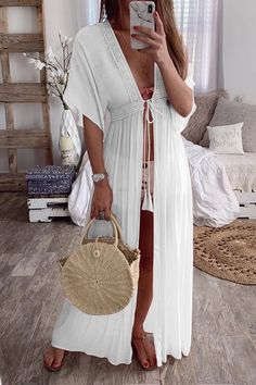 Crochet Lace Insert Long Cover Up Cardigan Outfits, Kimono Cardigan, Long Cardigan, Lace A Line Dress, Chiffon Dress, Summer Cardigan, Lace Insert, Mode Style, White Long Sleeve