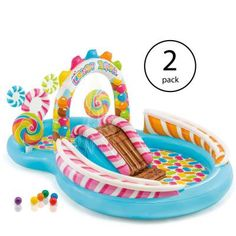Intex Kids Inflatable Candy Zone Swim Kids Splash Pool With Waterslide Pack) : Target Oval Above Ground Pools, In Ground Pools, Aqua Pools, Inflatable Water Park, Splash Park, Kid Pool, Pool Floats, Play Centre, Kids Lighting