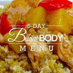 5-Day Bikini Body Menu - whether you plan to wear a bikini or one piece this summer, this menu is a perfect way to slim down for summer! #bikinibody #menuplanning #