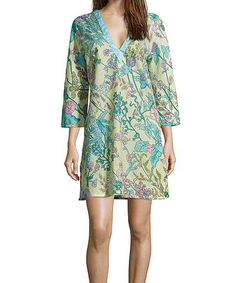 Look what I found on #zulily! Turquoise & Lavender Floral Scarf Print Notch Neck Dress #zulilyfinds