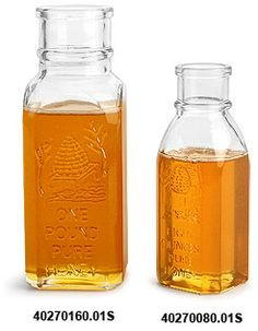Clear Glass Muth Style Honey Bottle (Bulk), Corks NOT Included, $12 for case of 12.