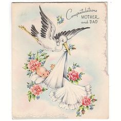 Vintage 1950s Congratulations New Baby Greeting Card Stork Blanket