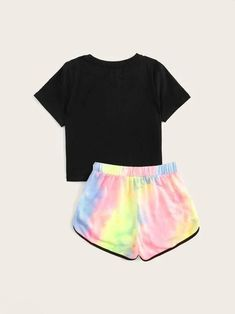 Apr 2020 - Girls Slogan Print Tee & Tie Dye Dolphin Shorts Set – Kidenhouse Crop Top Outfits, Kids Outfits Girls, Cute Outfits For Kids, Cute Casual Outfits, Short Outfits, Shorts For Girls, Tomboy Outfits, Girls Fashion Clothes, Teen Fashion Outfits