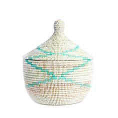 Fair trade home goods! Lidded Warming Basket - Aqua Garland