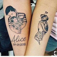60 Meaningful Unique Match Couple Tattoo Ideas - Matching Up . - 60 Meaningful Unique Match Couples Tattoo Ideas – Matching Couples Tattoo Ideas, Couples Tattoo I - Mama Tattoos, Mom Dad Tattoos, Father Tattoos, Mother Daughter Tattoos, Family Tattoos, Tattoos For Daughters, Couple Tattoos, Body Art Tattoos, Sleeve Tattoos