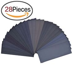 LANHU 120 to 3000 Assorted Grit Sandpaper for Wood Furniture Finishing, Metal Sanding and Automotive Polishing, Dry or Wet Sanding, 9 x 3.6 Inch, 28-Sheets  SANDPAPER ASSORTMENT - Including 2 sheets of each grit: (120/ 150/ 180/ 240/ 320/ 400/ 600/ 800/ 1000/ 1200/ 1500/ 2000/ 2500/ 3000), total 28 sheets.  PREMIUM QUALITY - Made of waterproof silicon carbide, electro coated ensures the grit distributed homogeneously, good for wet / dry sanding.  MULTIFUNCTIONAL - Suitable for use in a...
