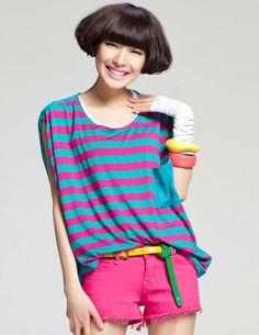Wholesale Stylish Stripes Round Neck Loosen Tees