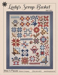 Lady's Scrap Basket Quilt Pattern is a charmingly scrappy sampler in the soft colors and floral prints of Sarah's Story by Betsy Chutchian for Moda Fabrics. This quilt uses a variety of piecing and applique techniques to create a beautifully finished desi Amische Quilts, Cute Quilts, Sampler Quilts, History Of Quilting, Applique Quilt Patterns, Bnp, Civil War Quilts, Basket Quilt, Quilts For Sale