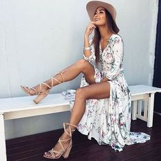 White summer dress + sandals + hat