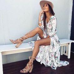 White summer dress + sandals + hat