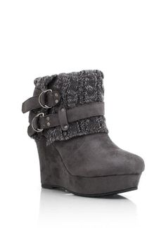 sweater cuff wedge booties