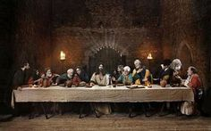lsst supper images | Painting of The Last Supper in stone building.