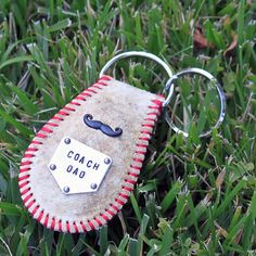 Coach Dad personalized mustache baseball keychain - Leather real baseball…